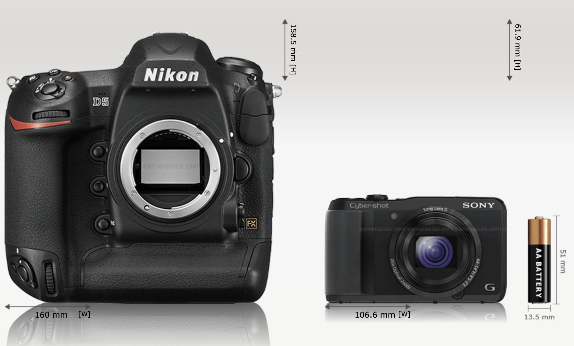 Spiegelreflexkamera Größenvergleich Nikon D5 funktioniert